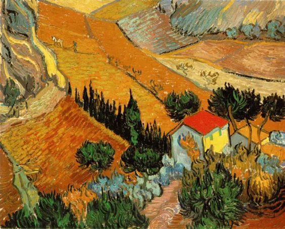 Paysage avec une maison et un laboureur  October 1889 (100 Kb); ``Landscape with House and Ploughman''; Oil on canvas, 33 x 41.4 cm (13 x 16 1/4 in); The Hermitage, St. Petersburg - Vincent van Gogh.