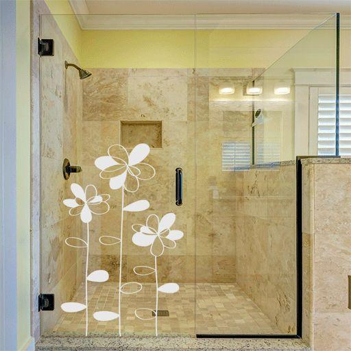 Vinilo transl cido formado por flores ideal para decorar for Cerradura para mampara de vidrio