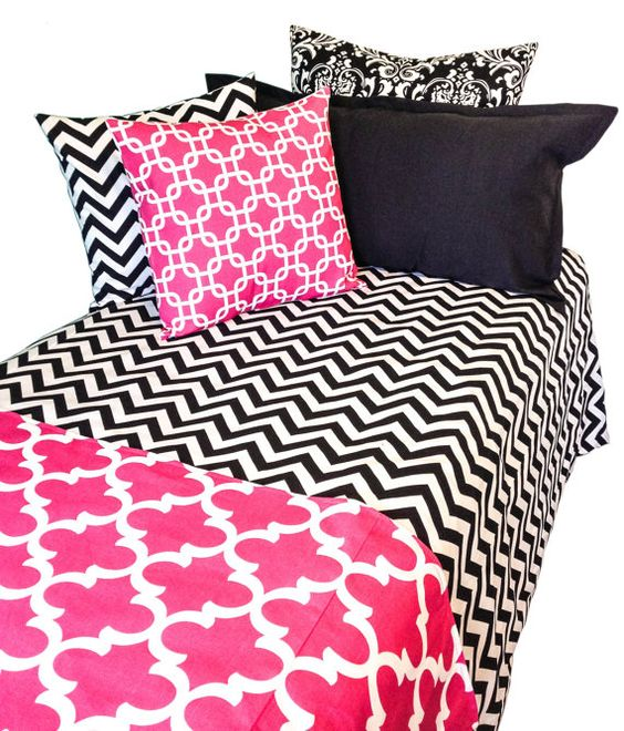 Black Hot Pink and White Duvet Bedding Set by TheBeddingCompany