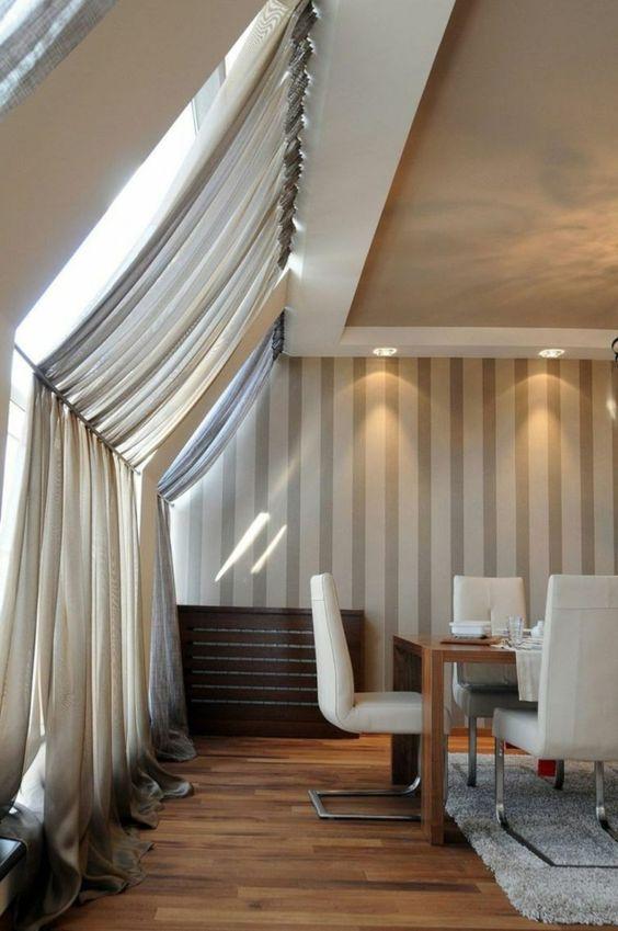 dachschräge vorhang im esszimmer fenster schutz | vorhänge, Innenarchitektur ideen