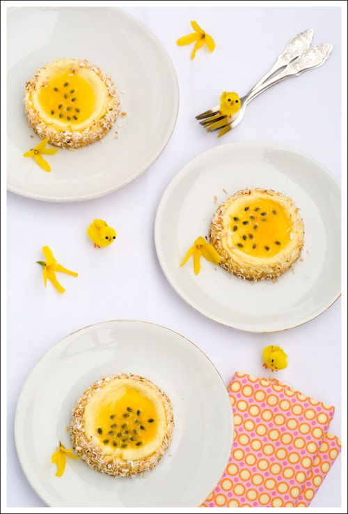 White chocolate coconut cheesecake with passionfruit glaze