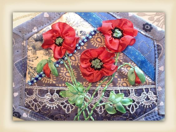 I ❤ ribbon embroidery . . . How to make silk ribbon embroidery field poppy flowers. www.craftyattic.com shows you how to embroider these beautiful field poppy flowers in pure silk embroidery ribbon. This film shows you how to form flowers, stems, leaves & buds.