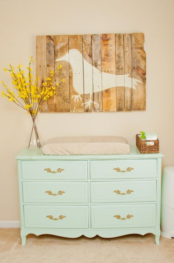 Pastel painted furniture can be a great place to start when decorating a shabby-chic nursery.