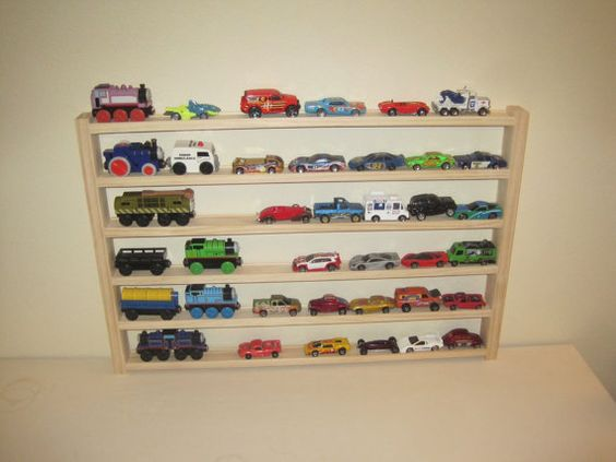 Car and Train Rack - toy car storage rack - organization for toy car and wooden trains on Etsy, $35.00