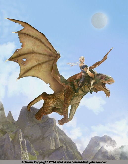 painting elven enechantree riding a dragon