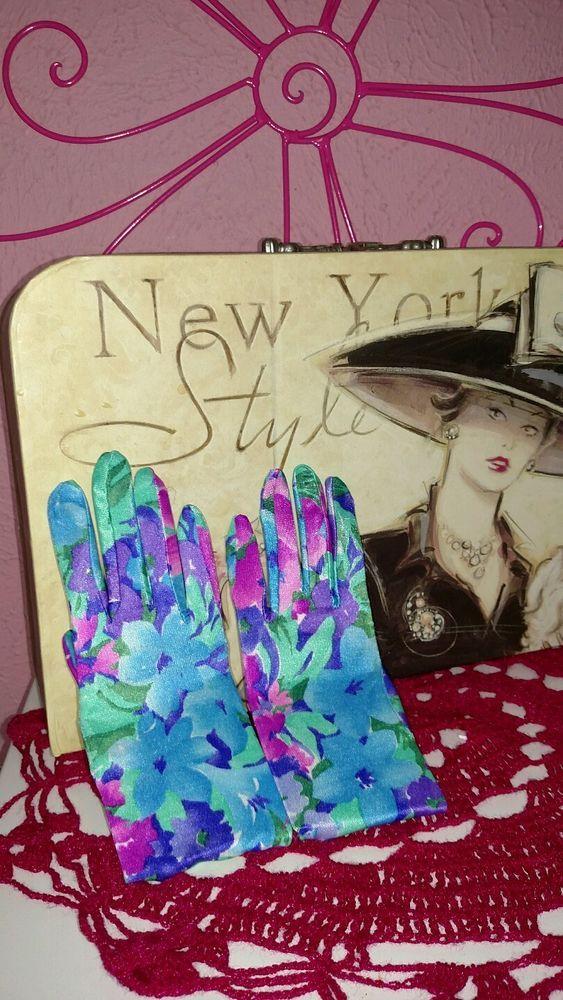 Gorgeous Floral Vintage Hand Gloves in Clothing, Shoes & Accessories, Women's Accessories, Gloves & Mittens | eBay