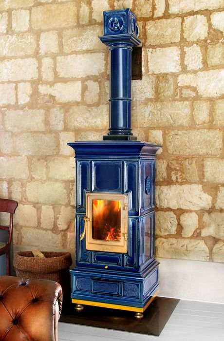 la castellamonte traditional design wood stoves dark blue ceramic tiles