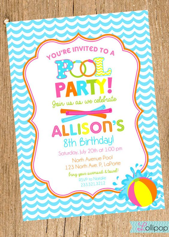Pool Birthday Party Invitation, Girls Swimming Party, Water Party - pool party invitation