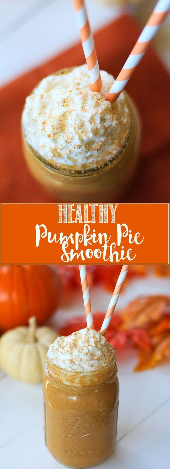 This healthy smoothie has all the pumpkin spice flavor you crave, but is made with healthy ingredients. No refined sugar, sweetened with maple syrup.