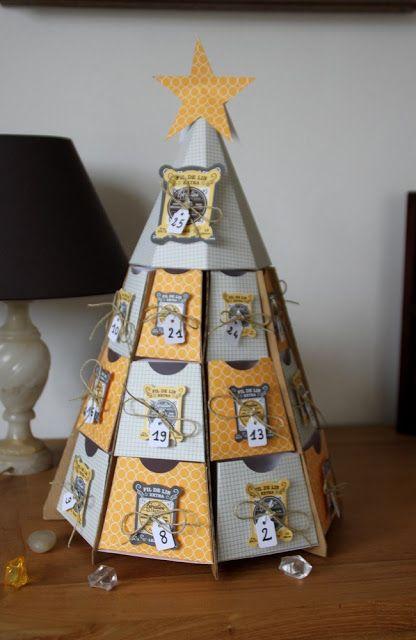 calendrier de l'avent original forme sapin - tuto de Cat123 - jaune blanc gris - C&S