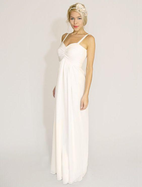 Ivory Empire Waist Sheath Wedding Dress by dahlnyc on Etsy, $398.00