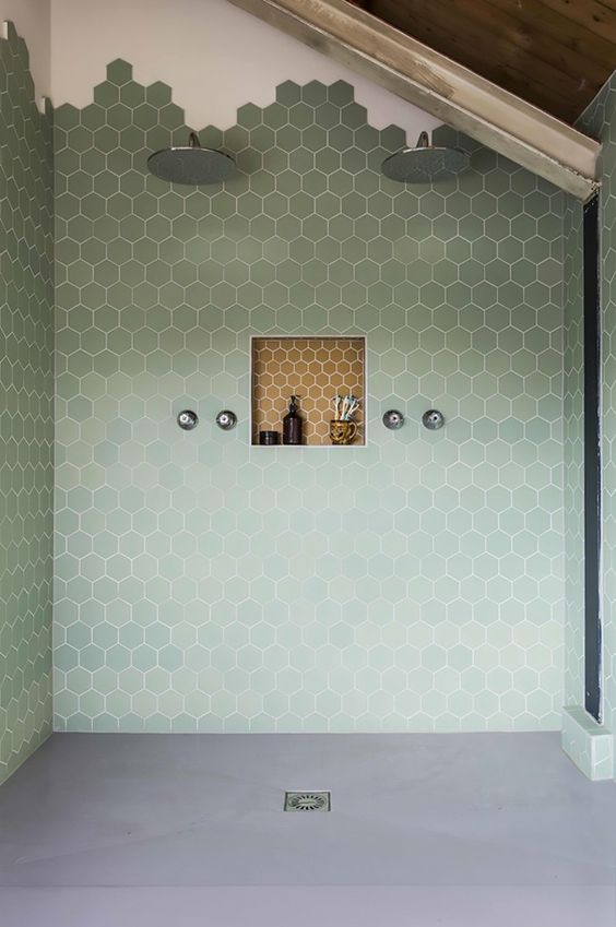 Bespoke Tile and Stone Encaustic Cement Tile Hexagon in Sage: