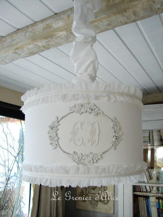#lampshade #abat jour #shabby chic  Nouveauté du Grenier d'Alice.  Jolie suspension romantique pour une chambre de petite ou grande princesse.
