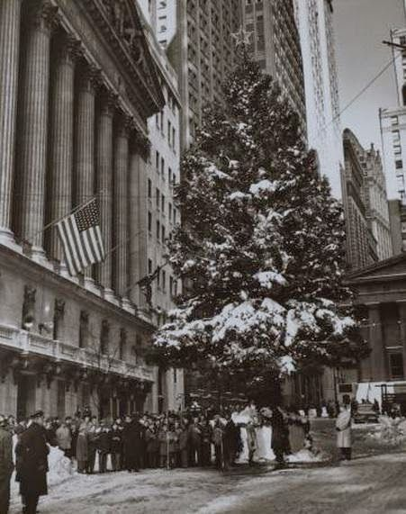 A Christmas Tree Stands in Front of the New York Stock Exchange, 1960