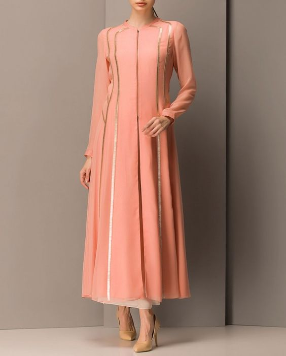 Light Pink Long Jacket With Sequins Am Pm Designers