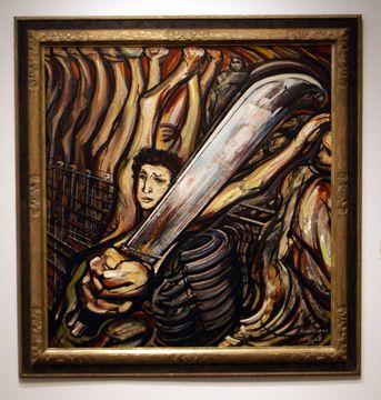 "David Alfaro Siqueiros: ""El machete"" autoretrato, pyroxilin on wood, 1968."