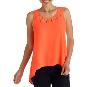 Women's Scoop Neck Sleeveless Tank with Back Slit and Cut Out Details: Women : Walmart.com
