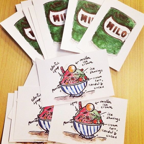 Finally got around to printing my watercolor Ais Kacang and Milo postcards! RM4 per pi...   Use Instagram online! Websta is the Best Instagram Web Viewer!