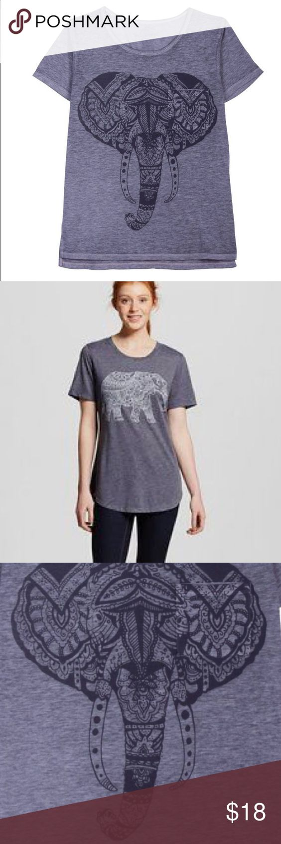 Elephant Graphic Tee - M Super soft grey top with light grey elephant pattern. Well Worn Los Angeles Tops Tees - Short Sleeve