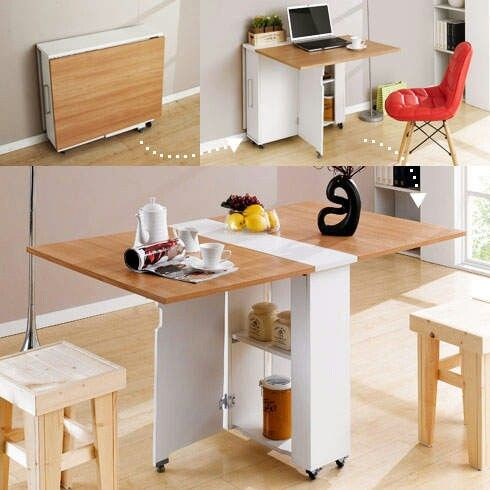 Foldable table. Good idea to save the space.