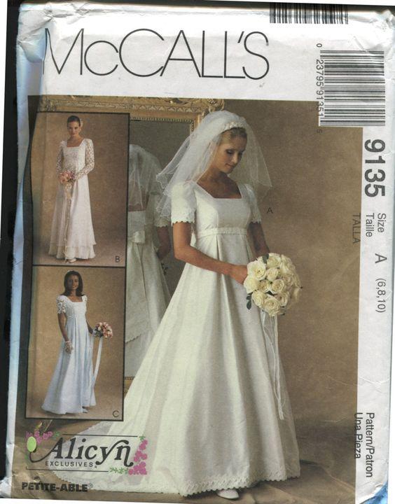 Mccalls 9135 1990s wedding dress sewing pattern empire for Empire waist wedding dress patterns