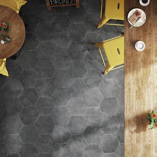 Carrelage Hexagonal Noir Antiderapant 29 2x25 4cm Urban Hexagon Dark 23521 1m Apporte Un Style Sobre Et Reserv Carrelage Hexagonal Carreaux Ciment Carrelage
