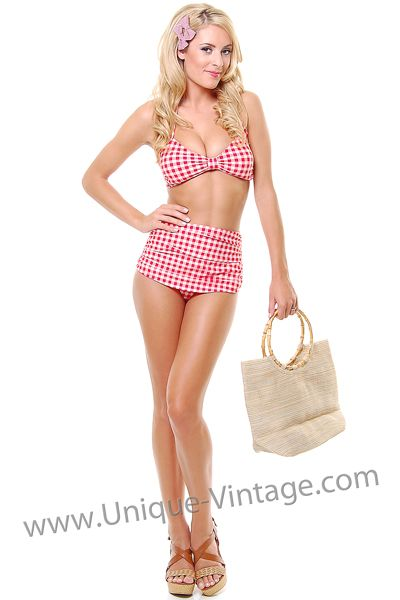 vintage inspired swimsuit 50s style red amp white gingham