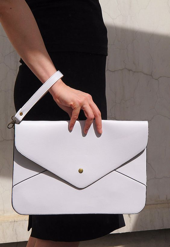 Oversize Vegan Leather Envelope Clutch - White Purse Bag Handbag - Women Ladies - Handmade on Etsy, $9.98