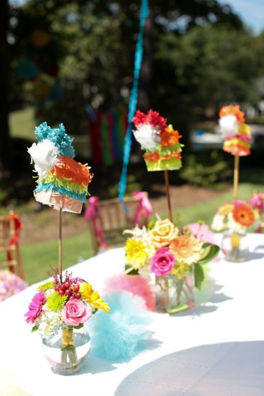 Mini pinatas in floral arrangements for table centerpieces for Flower arrangements for parties