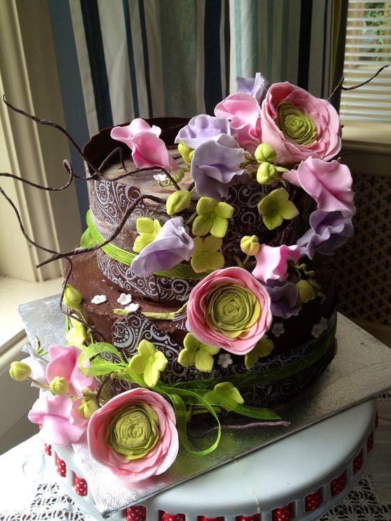 Two tier Chocolate wrap Wedding / birthday cake with handmade sugar flowers - ranunculus and sweetpea
