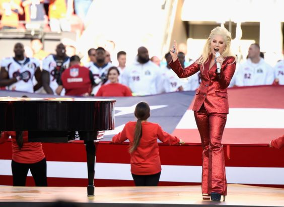 Lady Gaga Wears a Suit You Won't Forget to Sing the National Anthem: