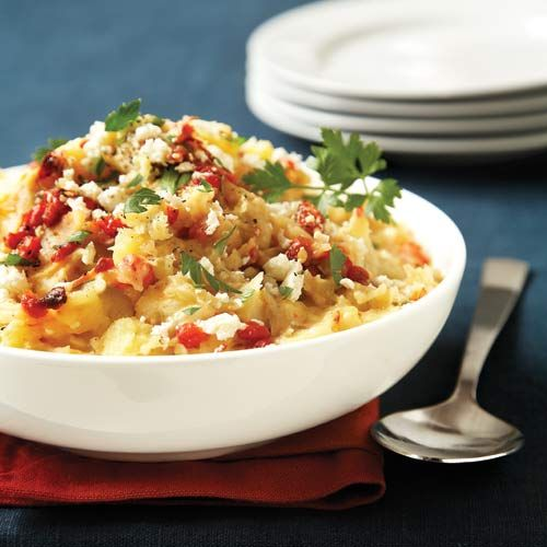 Roasted Red Pepper & Feta Mashed Potatoes - a Greek twist on he ultimate comfort food! Clean Eating http://www.cleaneatingmag.com/Recipes/Recipe/Roasted-Red-Pepper-Feta-Mashed-Potatoes.aspx