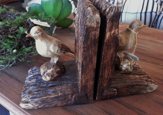 Use these unique bird bookends to create some natural visual interest on a table or shelf.