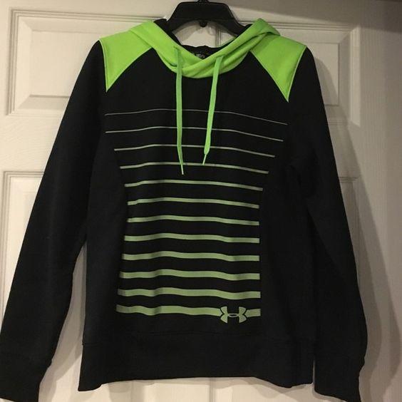 Under Armour Green/Black Hoodie Excellent Condition Under Armour Storm hoodie! Great colors! Black /Neon Green Under Armour Tops Sweatshirts & Hoodies