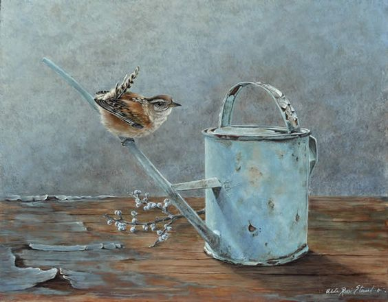 nice little painting of a wren
