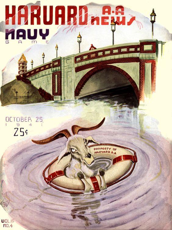 1941 Harvard Crimson vs Navy Midshipmen 22 x 30 Canvas Historic Football Poster