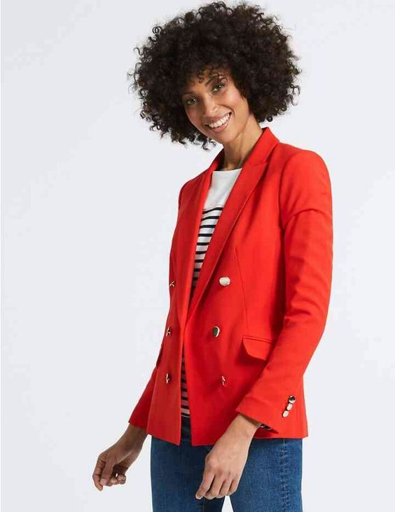 image showing M&S gold button jacket in red