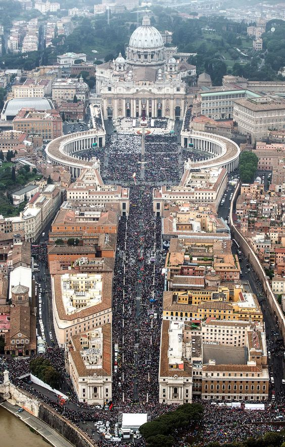 The streets were crowded in Vatican City as Pope Francis led a Canonization Mass to declare John Paul II and John XXIII as saints.