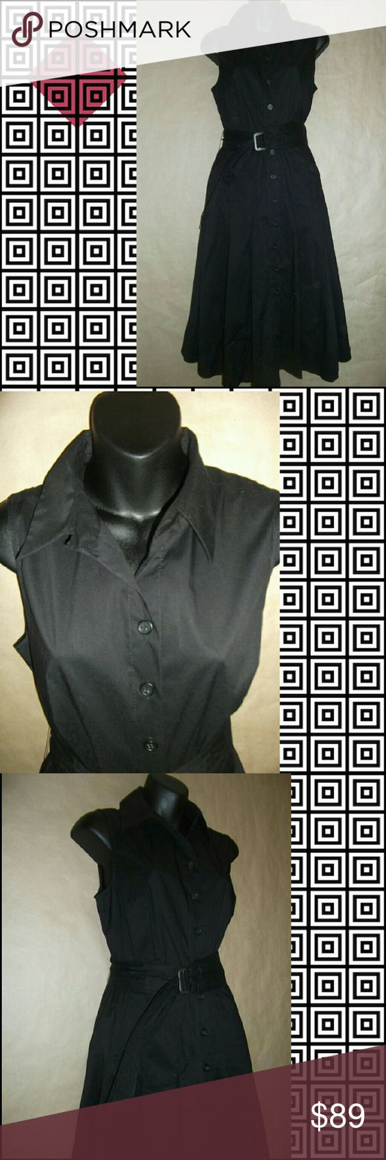 NWT Black Wear to Work Shirt Dress 6 Button down  Cloth belt.included Calf length  Sleeveless Stiff collar Alfani Dresses
