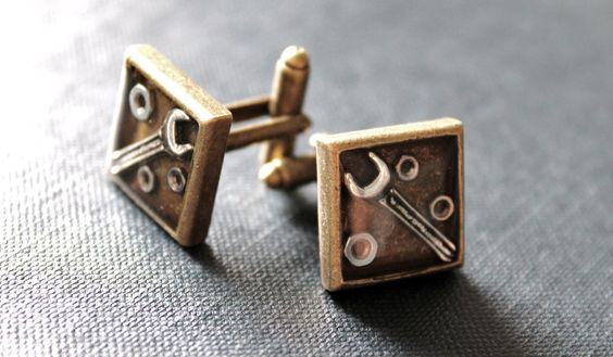 Bronze Tone Square Spanner Wrench Cufflinks