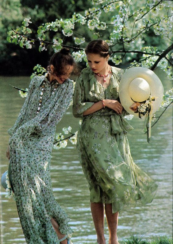 Vogue June/July 1975 vintage fashion style color photo print ad model magazine 70s floral dress sheer flutter long knee day bow river blue green