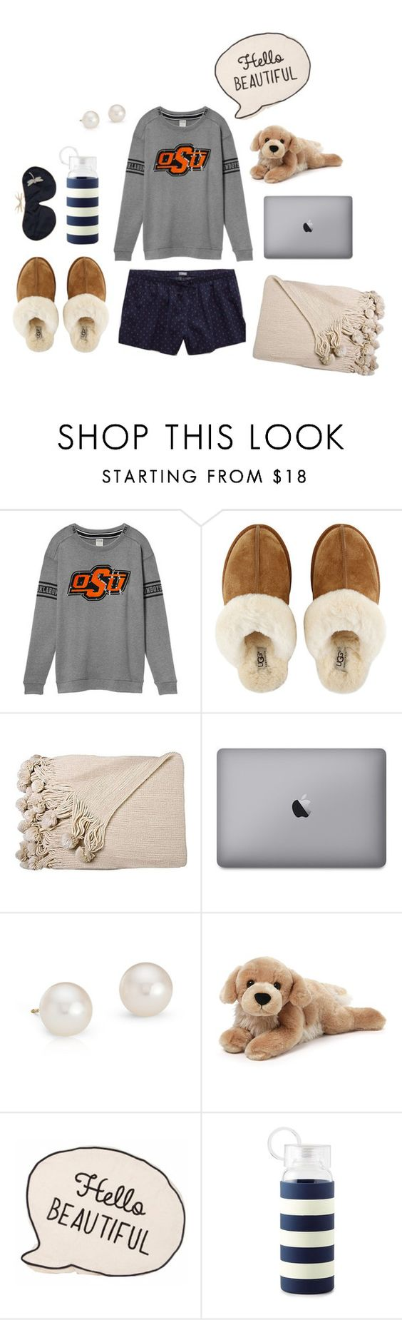 """Sunday Night Spent in Stilly"" by walzfashion ❤ liked on Polyvore featuring UGG Australia, Blue Nile, Gund, Kate Spade and Holistic Silk"