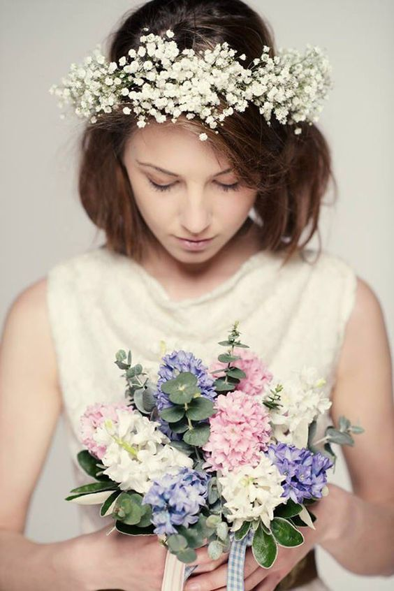 baby's breath wreath with medium hair - Google Search