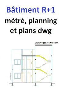 Projet Batiment Avec Metre Planning Et Plans Dwg Avec Images Planning Chantier Batiment Genie Civil