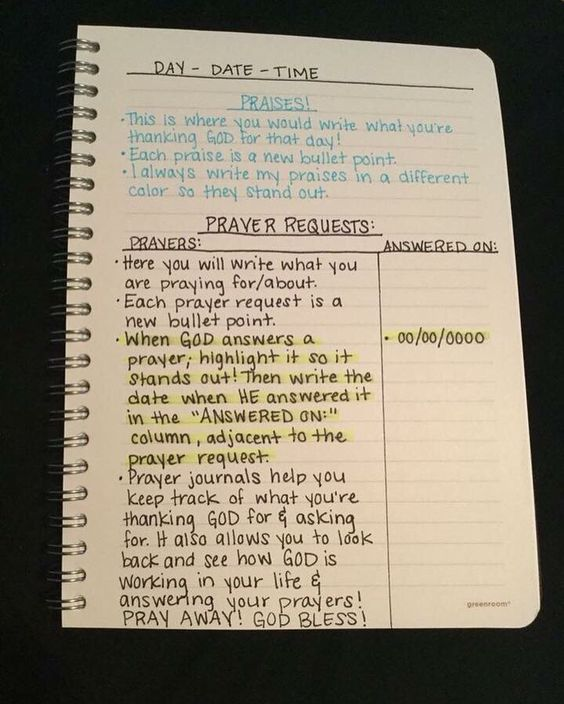 For anyone who is looking to start a prayer journal, this is a wonderful explanatory format! If you don't have a prayer journal, today is a great day to start one. You don't need anything fancy, so don't feel pressured to go spend money you may not have on an expensive journal. A regular $1 notebook works as well as the $20 journals. Use what you already have! Be creative, if you're the creative type. Make it yours!
