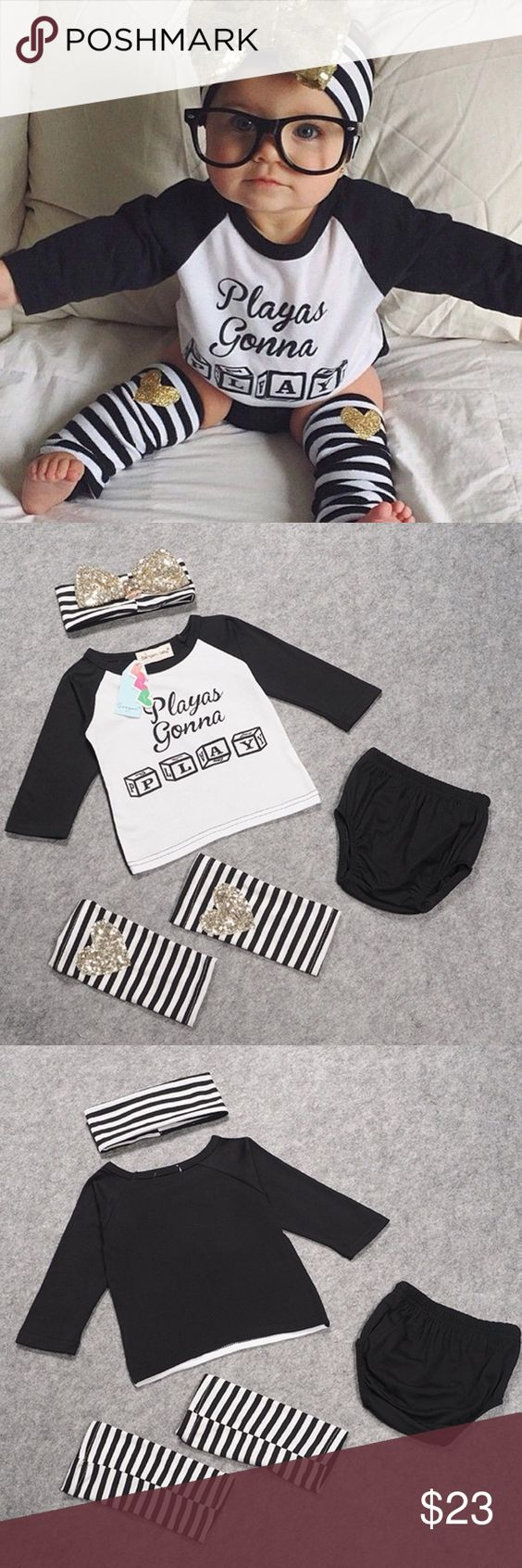 "4pc ""Playas Gonna Play"" Outfit 3T Summer style letter striped printed Toddler baby girl clothes set outfit +headband + leg warmer Specifics Pattern Type	: Striped Sleeve Length	Full Collar	O-Neck Style	Fashion Fits true to size, take your normal size Material	Cotton Pattern	Casual Age	1-4 years Matching Sets"