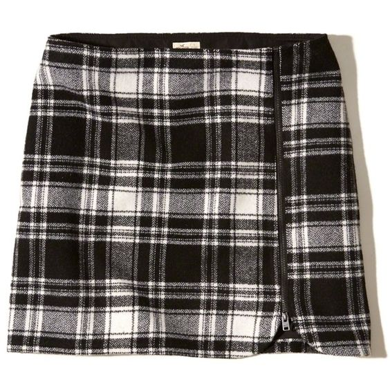 Hollister Zip-Front Wool-Blend Mini Skirt ($40) ❤ liked on Polyvore featuring skirts, mini skirts, black plaid, short skirts, short tartan skirt, tartan miniskirts, tartan plaid skirt and short plaid mini skirt