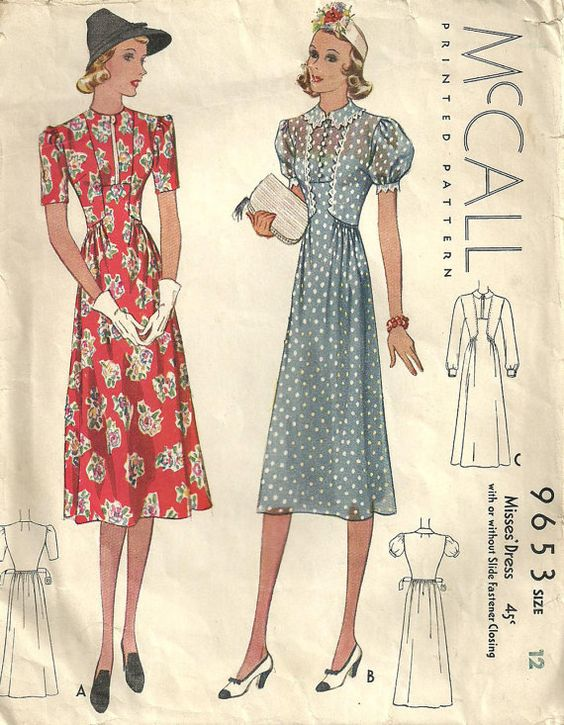 30s 40s red floral white dot sheer print swing war era  McCall 9653 Vintage 1930s Sewing Pattern Dress by studioGpatterns, $28.50: