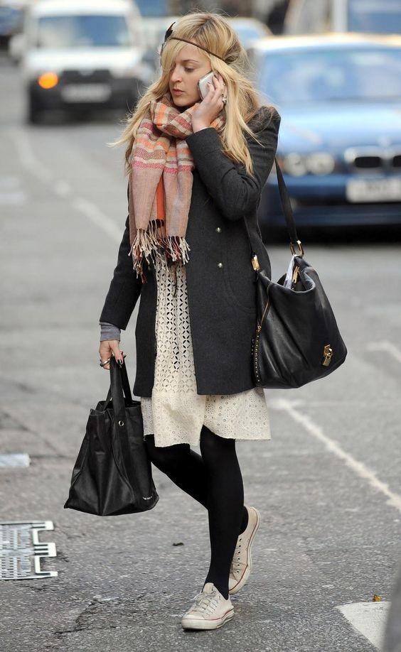 Fearne Cotton in a cream lace dress, black coat, sneakers and pastel scarf