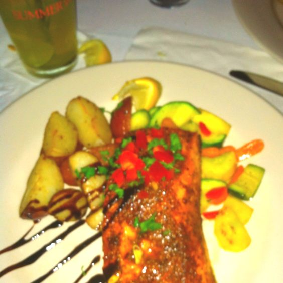 Cajun seasoned salmon with red potatoes and vegetable medley...